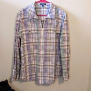 Stylish Spring Colors Plaid Chaps Zip Up Shirt
